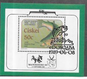 South  Africa -Ciskei #138s 50c  Fish S/S (U) 1st day cancel CV $4.00