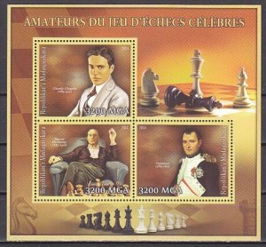 Malagasy Rep. 2014 issue. Amateur Chess Players sheet of 3. Napoleon & Chaplin.^