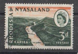 Rhodesia & Nyasaland 1960 QEII Portrait & Various Designs 3p (1/6) USED