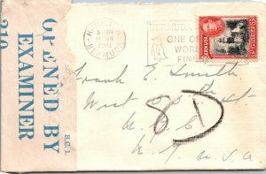 1941 WWII Bermuda > NYC censored cover penguin cancel