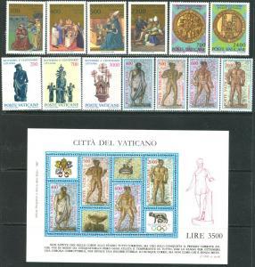 VATICAN Sc#779-805 Seven Sets & 1 S/s 1987 Year Complete Mint OG NH