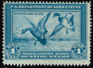 US STAMP BOB DUCK STAMP #RW1 – 1934 $1.00 Mallards MHR/OG