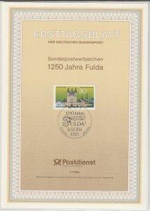 1994 Germany - FD Card (ETB) Sc 1824 - Fulda, 1250th anniversary