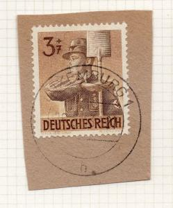 1944-45 GERMANY used in LUXEMBOURG Fine Used 3p. Postmark Piece 241680