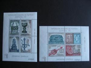 SPAIN 2 MNH souvenir sheets Sc 1877-8 for Espana 1975 check them out!