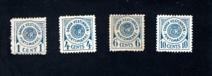 Danish West Indies #J1-J4,  F/VF,  Unused, Gum Issues, CV $60.00 ....1630051