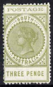 South Australia 1902-04 Thin Postage 3d olive with flaw o...