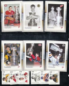 CANADA # 3027-3032+3026+3033-3038 NHL THE ULTIMATE SIX SET AND S/SHEETS PO FRESH