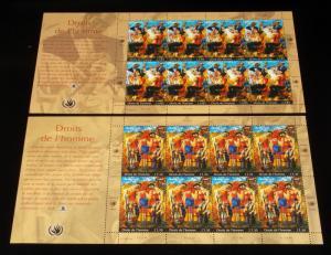 U.N. GENEVA #431-432, 2004, HUMAN RIGHTS PANES OF 8, MNH, NICE! LQQK!