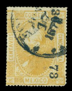 MEXICO 1872  Hidalgo  50c yellow  - OAXACA - 46  73 consg. Sc# 102 used