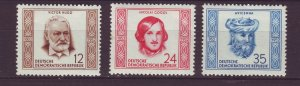 J24120 JLstamps 1952 germany DDR part of set mnh #103,105-6 famous people