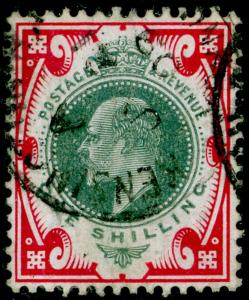 SG257a, 1s dull green & carmine, FINE used. Cat £35.