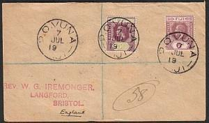 FIJI 1922 reg cover to UK : P.O.VUNA cds - 22 missing......................62517