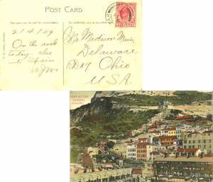 Gibraltar 1d KEVII 1909 Gibraltar, 25 PPC (Casemates Barracks) to Delaware, O...