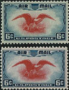 #C23c rare ultramarine & carmine color error 1938 6c AIRMAIL ISSUE MINT-OG/NH