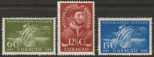 Netherlands Antilles 1949 Sc 203-5 set MNH** gum speckling