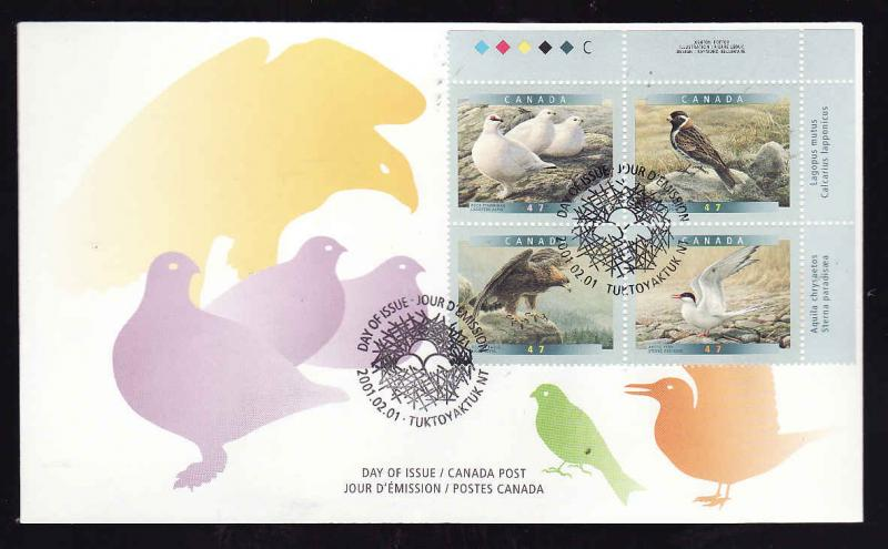 Canada-Sc#1886-9-stamps [UR plate block] on FDC-Birds 0f Canada-2001-