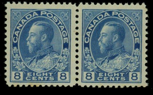 Canada #115 MINT PAir F-VF OG Very LH Cat$65