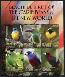 BEQUIA  2016 BEAUTIFUL BIRDS OF THE CARIBBEAN & THE NEW WORLD SHEET(6)  MINT NH