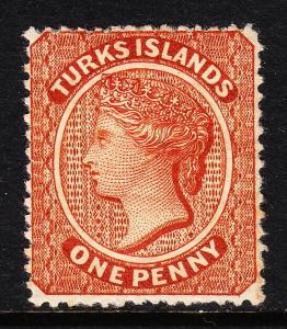 TURKS ISLANDS — SCOTT 40 (SG 55) — 1881 QV 1d BROWN RED — MNG — SCV $77.50