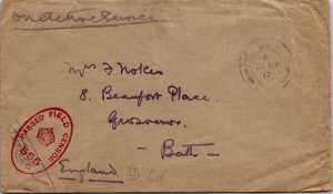 Army Field Office > Bath UK 1917 censored on active service cover
