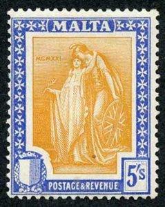 Malta SG137 1922 5/- Orange-yellow and Bright Ultramarine Wmk Mult Script CA M/M