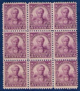 US Sc 725 (1932) (zip block 9 ea) Daniel Webster Issue