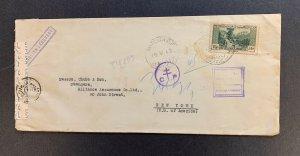 Lebanon, Scott #143 on 1942 WWII Censored Cover, Many Postal Markings