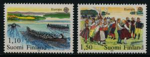 Finland 655-6 MNH - EUROPA, Rowing to Church, Midsummer's Eve Dance
