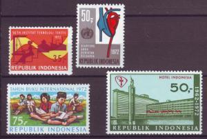 J21049 Jlstamps 1972 indonesia sets of 1 mh #816,817,818,822 designs