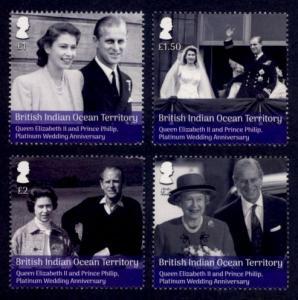 British Indian Ocean Territory Sc# 481-4 MNH Platinum Wedding Anniversary
