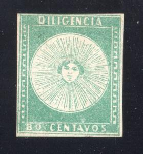 Uruguay 1856 80c Diligencia #2 MLH W/GUM XF CRACKED PLATE VARIETY W/CERTIFICATE