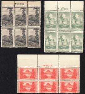 1934 U.S.National Parks perf issue full set of plate blocks MNH Sc# 740 / 749