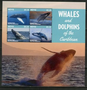 NEVIS WHALES AND DOLPHINS OF THE CARIBBEAN SHEET MINT NH