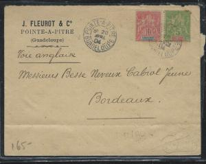 GUADELOUPE (PP2709B) 1904 5C+10C COVER FROM POINTE-A-PITRE TO FRANCE