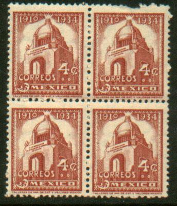 MEXICO 731, 4c Revolution Monument. Block of four. MNH (89)