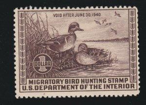 US RW6 $1 Federal Duck Stamp Mint F-VF OG NH SCV $250