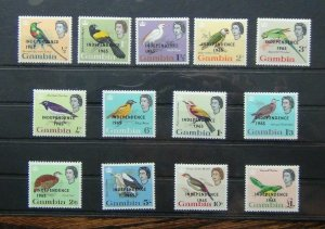 Gambia 1965 Independence set to £1 MNH SG215 - SG227 BIRDS