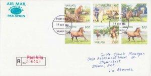 RARE VANUATU AIR REGISTERED COVER HORSE FAUNA TO ARTSAKH KARABAKH ARMENIA R18327