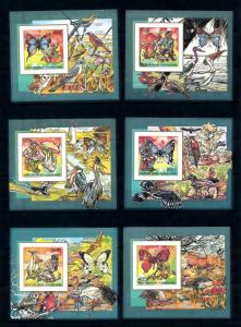 [75871] Togo 1990 Butterflies Birds Scouting 6 Deluxe Imperf. Sheets MNH