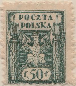 POLEN - 1919 - Mi.108zl 50f blue-green p.11-1/2 (vertically striped) - Mint*