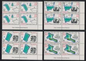 Kiribati Islands 1st series 4v Bottom Right Corner Blocks of 4 SG#145-148