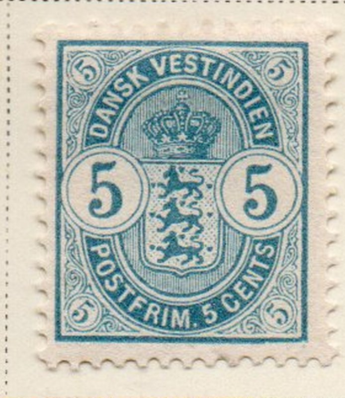 Danish West Indies Sc 22 1900 5 c light blue Coat of Arms stamp mint