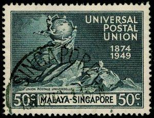 SINGAPORE SG36, 50c blue-black, FINE USED.