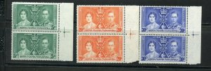 KENYA UGANDA TANGANYIKA CORONATION OF GEORGE VI 1937 SC# 60-2 MNH PAIRS AS SHOWN