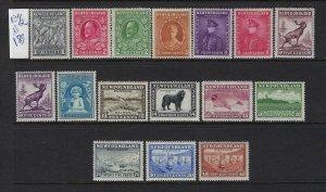 NEWFOUNDLAND SCOTT #184-199 1932-37 (MISSING 1C GREEN) PERF 13 1/2  - MINT NH/LH