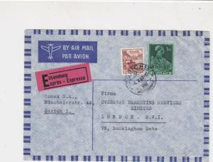 Switzerland 1947 Airmail Expres Zurich Cancel 2xStamps Cover to London Ref 25826