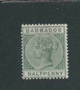 BARBADOS 1882-86 ½d DULL GREEN MM SG 89 CAT £38