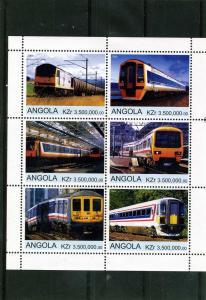 Angola 2000 TRAINS & LOCOMOTIVES  Sheet (6) Perforated Mint (NH)