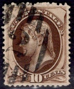 US Stamp #161 10c Brown Jefferson USED SCV $25